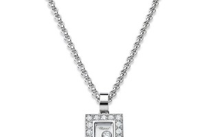 Jewelry , 8 Stunning Chopard Happy Diamonds Necklace : Diamonds White Gold Square Necklace