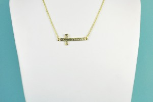 Jewelry , 8 Fabulous Sideways Gold Cross Necklaces For Women : Encrusted Sideways Cross