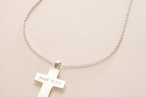 Jewelry , 7 Popular Engravable Cross Necklace : Engraved Solid Silver Cross Necklace