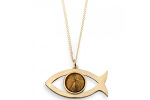 Jewelry , 8 Charming Ichthus Necklace : Gold Plated Ichthus Necklace