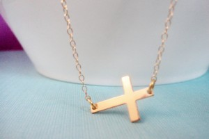 Jewelry , 8 Best 14kt Gold Sideways Cross Necklace : Gold Sideways Cross Necklace