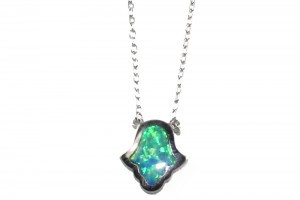 1000x1000px 7 Excellent Blue Opal Hamsa Necklace Picture in Jewelry