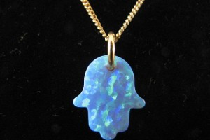 570x428px 7 Excellent Blue Opal Hamsa Necklace Picture in Jewelry