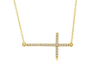 Jewelry , 7 Good 14k Gold Horizontal Cross Necklace : Horizontal Diamond Accented Cross Necklace