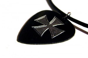Jewelry , 8 Gorgeous Guitar Pick Necklace Engraved : Iron Cross Engraved Guitar Pick Necklace