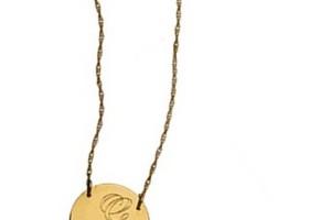 Jewelry , 8 Awesome Jennifer Zeuner Initial Necklace : Jennifer Zeuner Swirly Initial Engraved Medal Necklace