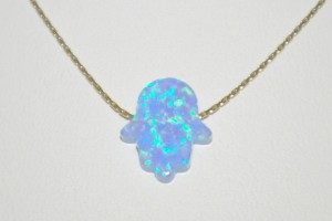 570x570px 7 Excellent Blue Opal Hamsa Necklace Picture in Jewelry