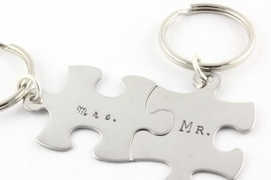 Jewelry , 8 Lovely Matching Puzzle Piece Necklace : Matching Puzzle Piece Keychains