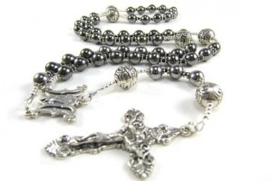 Jewelry , 8 Unique Mens Silver Crucifix Necklace : Mens Gunmetal Rosary Necklace