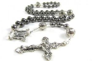 Jewelry , 8 Unique Mens Silver Crucifix Necklace : Mens Gunmetal Rosary Necklace