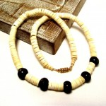 Mens White Puka Shell And Brown Horn Bead Necklace , 6 Stunning Puka Shell Necklace For Men In Jewelry Category