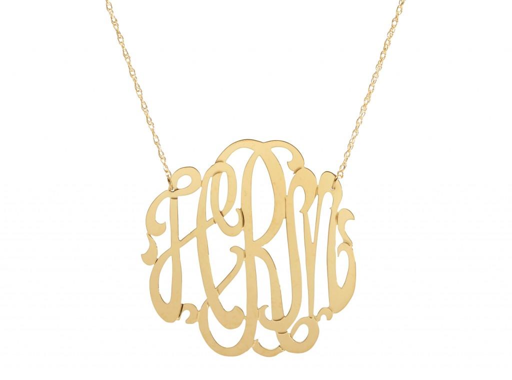 8 Stunning Metal Script Monogram Necklace in Jewelry