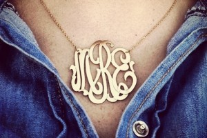 Jewelry , 8 Stunning Metal Script Monogram Necklace : Metal Script Monogram Necklace