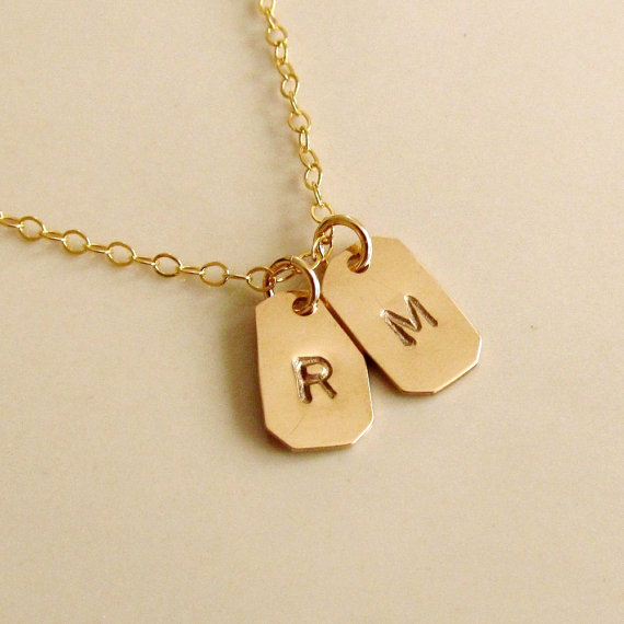 Jewelry , 8 Charming 14kt Gold Initial Necklace : Mini Dog Tags Necklace