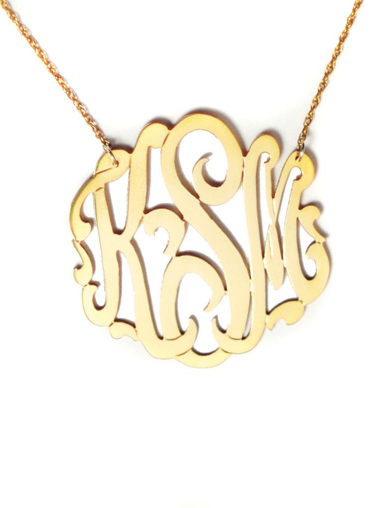 Jewelry , 8 Stunning Metal Script Monogram Necklace : Monogram Necklace