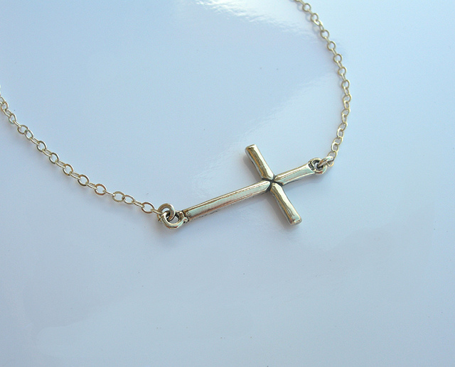 Jewelry , 8 Nice Sideway Cross Necklace : Necklace Sterling Silver