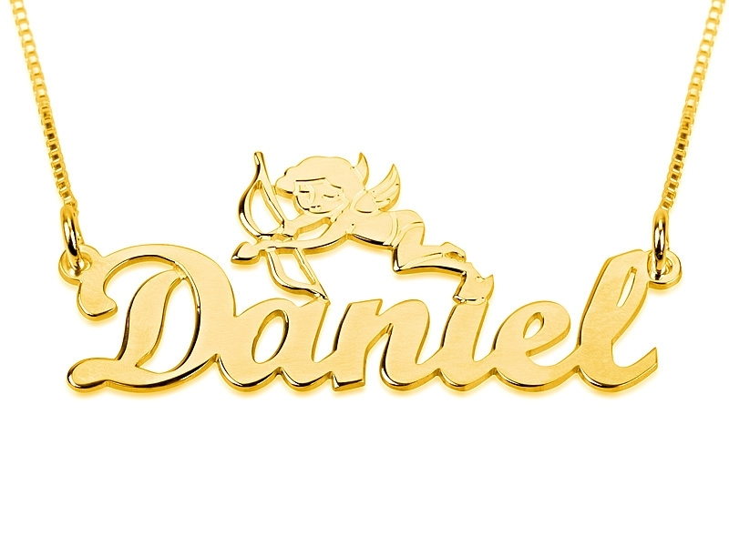 Jewelry , 8 Awesome Gold Cursive Name Necklace : Necklace With Cupid Large