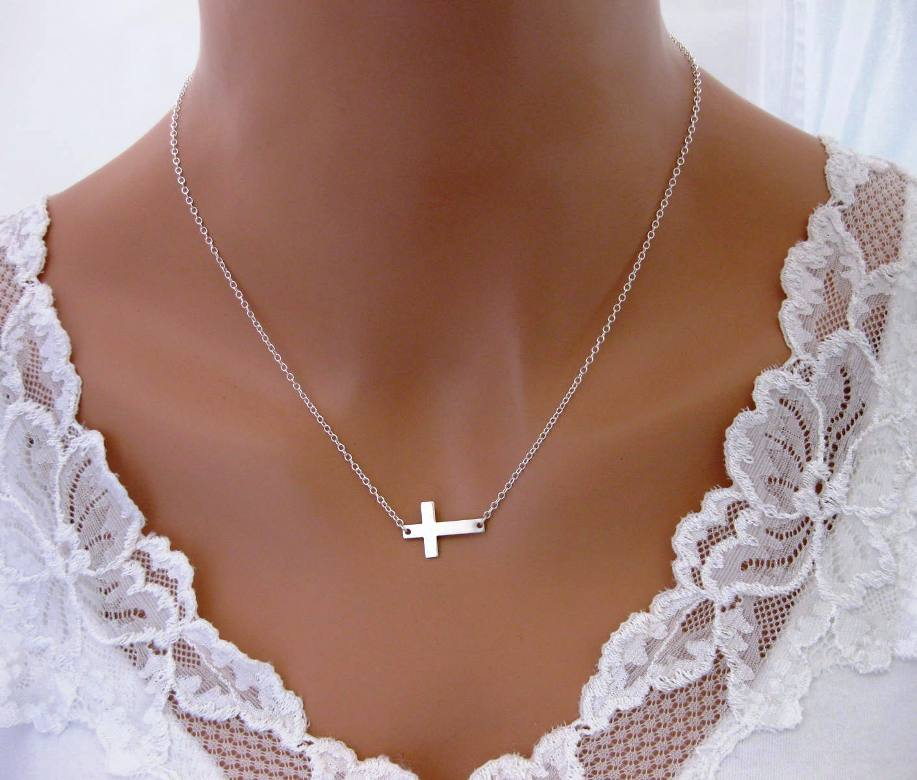 Jewelry , 7 Awesome Meaning Behind Sideways Cross Necklace : Necklace With Sideways Cross Clasp
