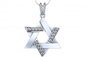 Jewelry , 8 Popular Diamond Jewish Star Necklace : Pendant with Chain in Palladium