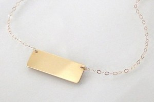 Jewelry , 8 Fabulous White Gold Nameplate Necklace : Rectangle Bar Necklace