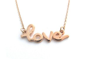 Jewelry , 8 Gorgeous Cursive Love Necklace : Rose Gold Cursive Love Necklace