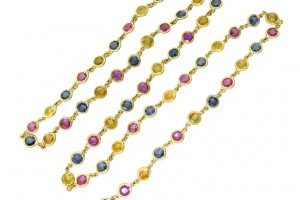 Jewelry , 9 Georgeous Temple St Clair Necklace : Sapphire Gold Link Necklace