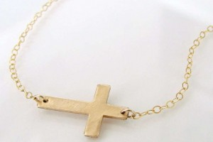 Jewelry , 7 Good 14k Gold Horizontal Cross Necklace : Sideways Cross Necklace
