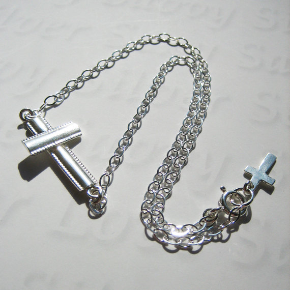 8 Awesome Horizontal Cross Necklace Sterling Silver in Jewelry