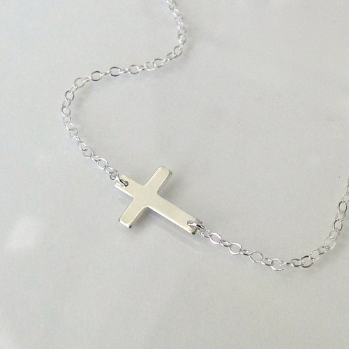 Jewelry , 8 Awesome Horizontal Cross Necklace Sterling Silver : Sideways Cross Necklace