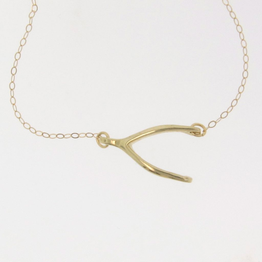 8 Charmming 14k Gold Wishbone Necklace in Jewelry