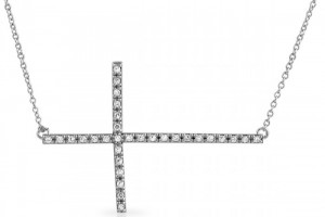 Jewelry , 7 Gorgeous Horizontal Cross Necklaces : Signity CZ Horizontal Cross Necklace