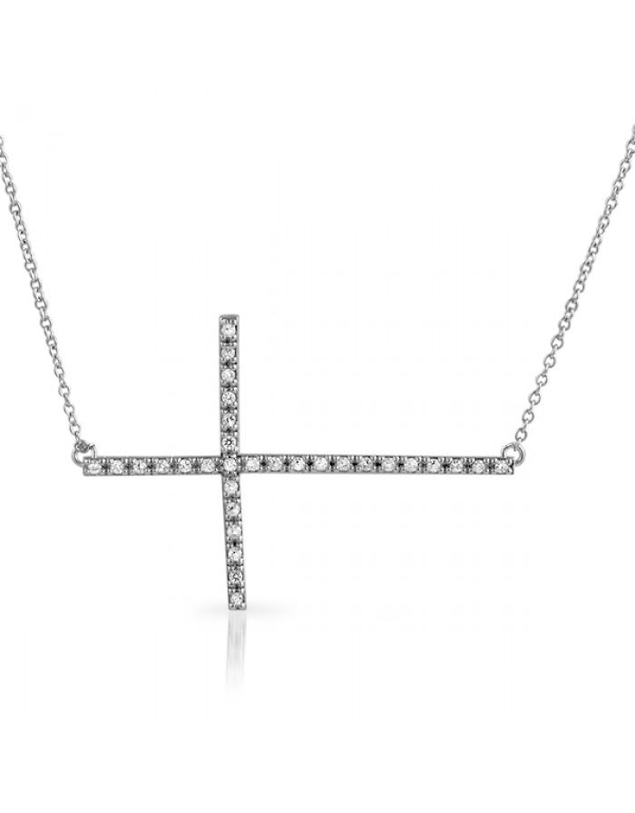 Jewelry , 7 Gorgeous Horizontal Cross Necklaces : Signity CZ Horizontal Cross Necklace