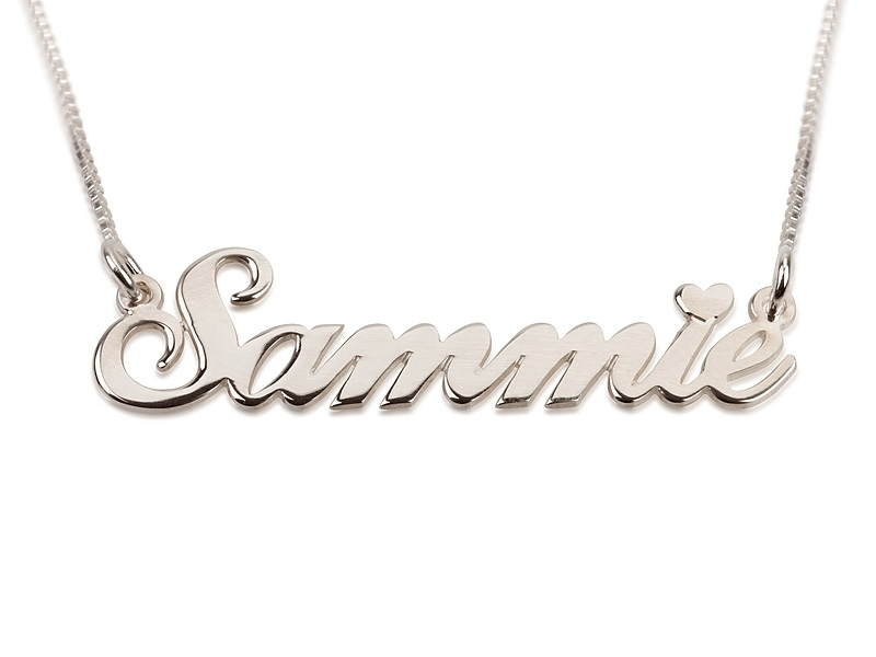 Hair Style , 8 Nice Cursive Name Necklace : Silver Cursive Letters Name Necklace