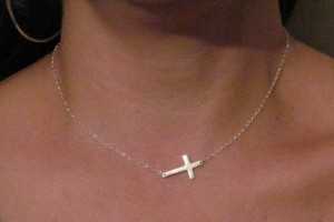 Jewelry , 7 Awesome Meaning Behind Sideways Cross Necklace : Small Sterling Silver Sideways Cross Necklace