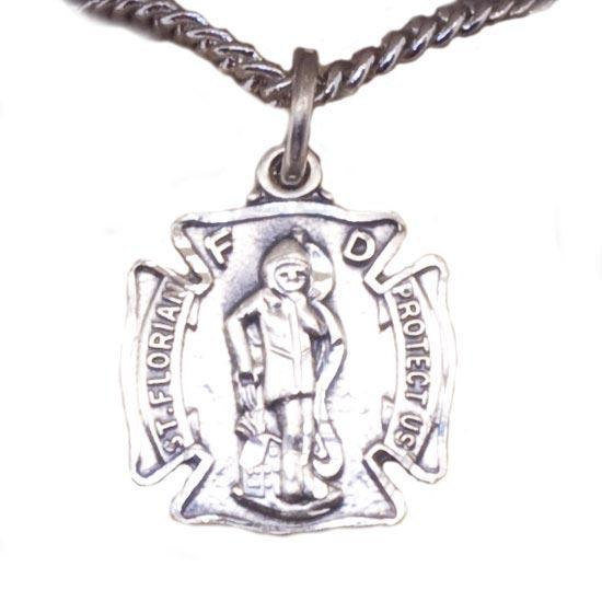 St Florian Necklace: St Florian SILVER Necklace : Woman Fashion