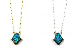 Jewelry , 7 Excellent Blue Opal Hamsa Necklace : This beautiful opal hamsa