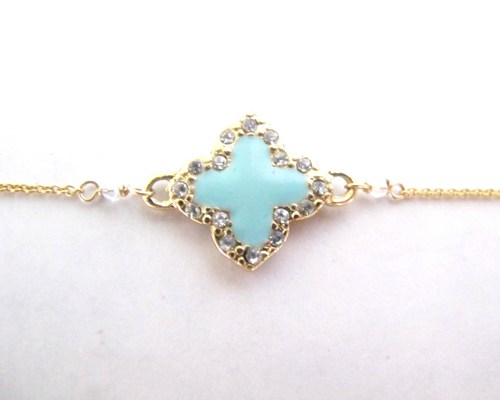 Jewelry , 8 Awesome Tiffany Clover Necklace : Tiffany Blue Van Cleef Style Necklace
