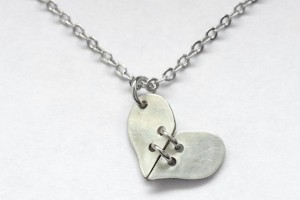 Jewelry , 7 Stunning Breakable Heart Necklace :  Tiny Silver Stitched Heart Necklace