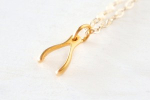 Jewelry , 8 Charmming 14k Gold Wishbone Necklace : Vermeil Wishbone Necklace