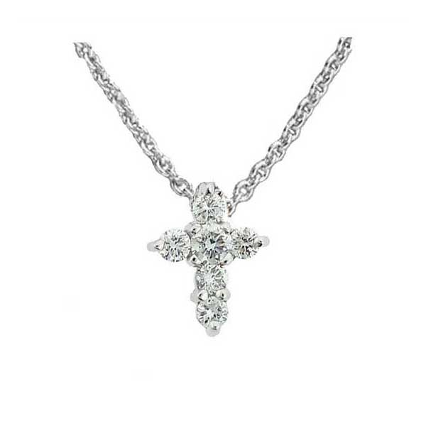 Jewelry , 7 Unique Roberto Coin Tiny Treasures Cross Necklace : White Gold Cross Diamond Necklace