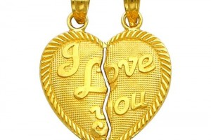 Jewelry , 8 Beautiful Broken Heart Necklaces For Couples : Yellow Gold Medium