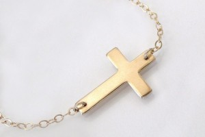 Jewelry , 7 Good 14k Gold Horizontal Cross Necklace :  cross necklaces for men