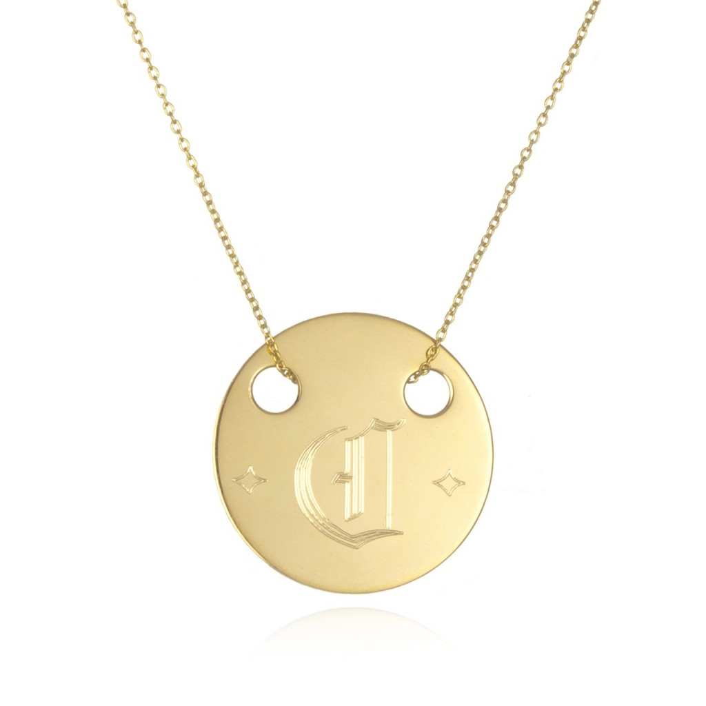 7 Awesome Gold Disc Monogram Necklace in Jewelry