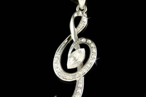Jewelry , 8 Charming G Clef Necklace :  diamond necklace