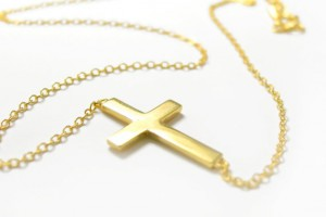Jewelry , 7 Good 14k Gold Horizontal Cross Necklace :  handmade jewelry