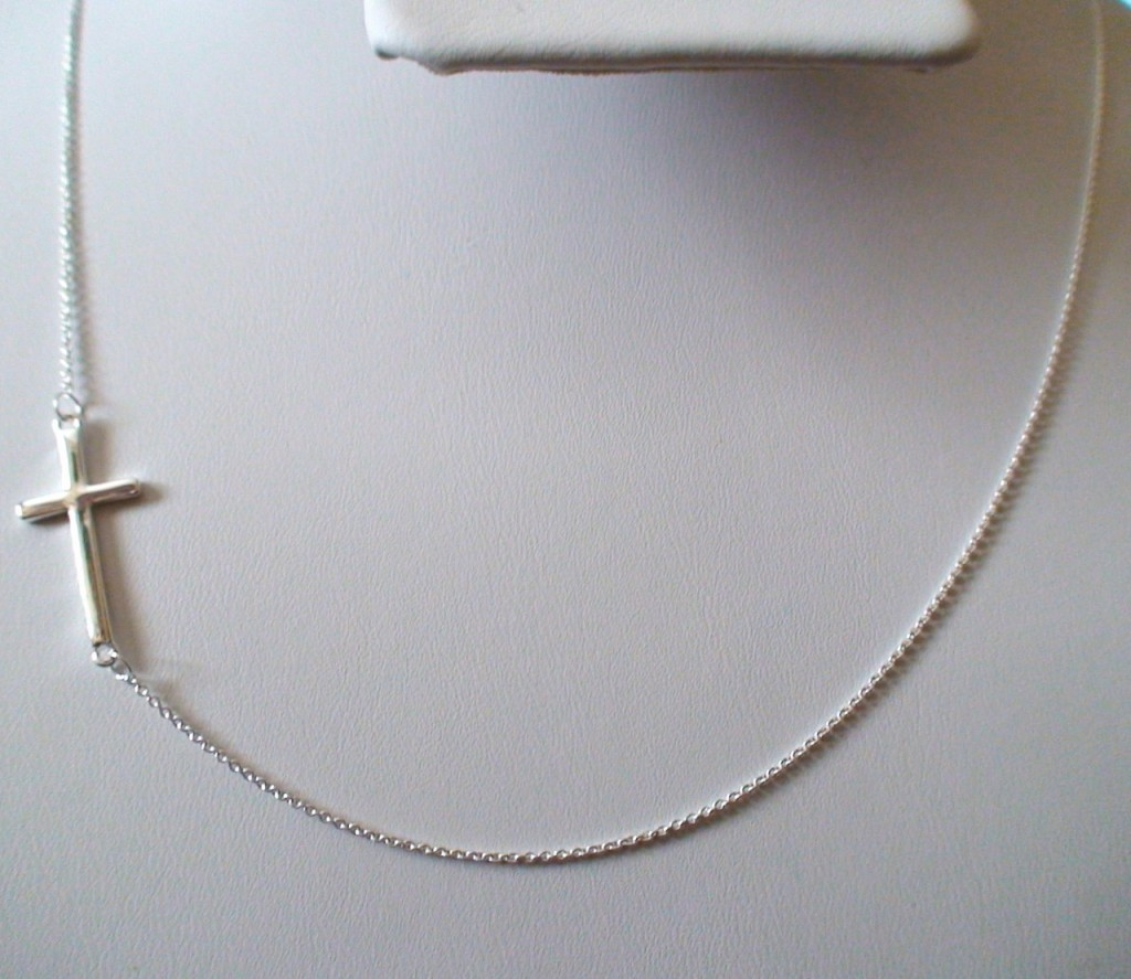 8 Awesome Sterling Silver Sideway Cross Necklace in Jewelry