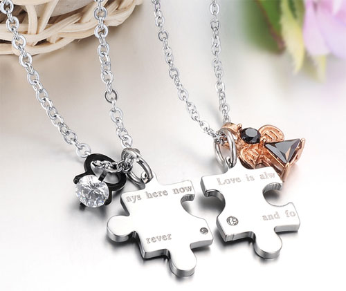 8 Lovely Matching Puzzle Piece Necklace in Jewelry