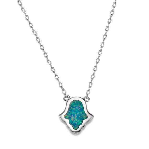 7 Excellent Blue Opal Hamsa Necklace in Jewelry