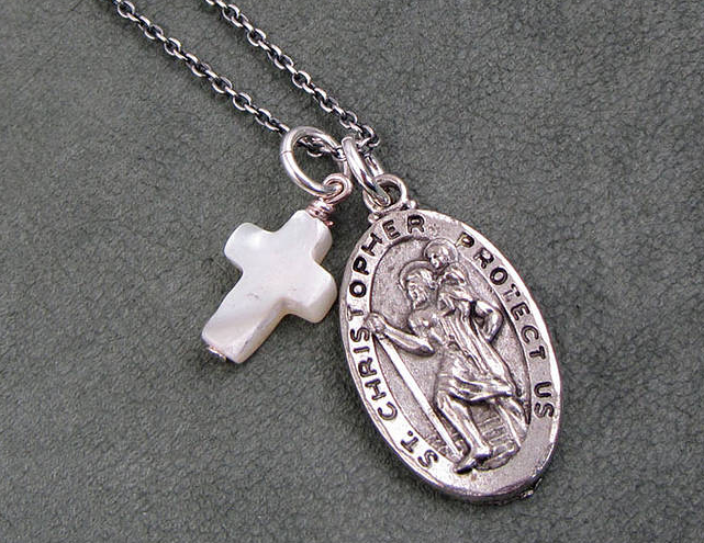 Saint christopher necklaces with cross 8 stunning saint large 641 x 495 mozeypictures Choice Image
