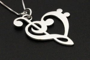 Jewelry , 8 Charming G Clef Necklace :  silver jewelry